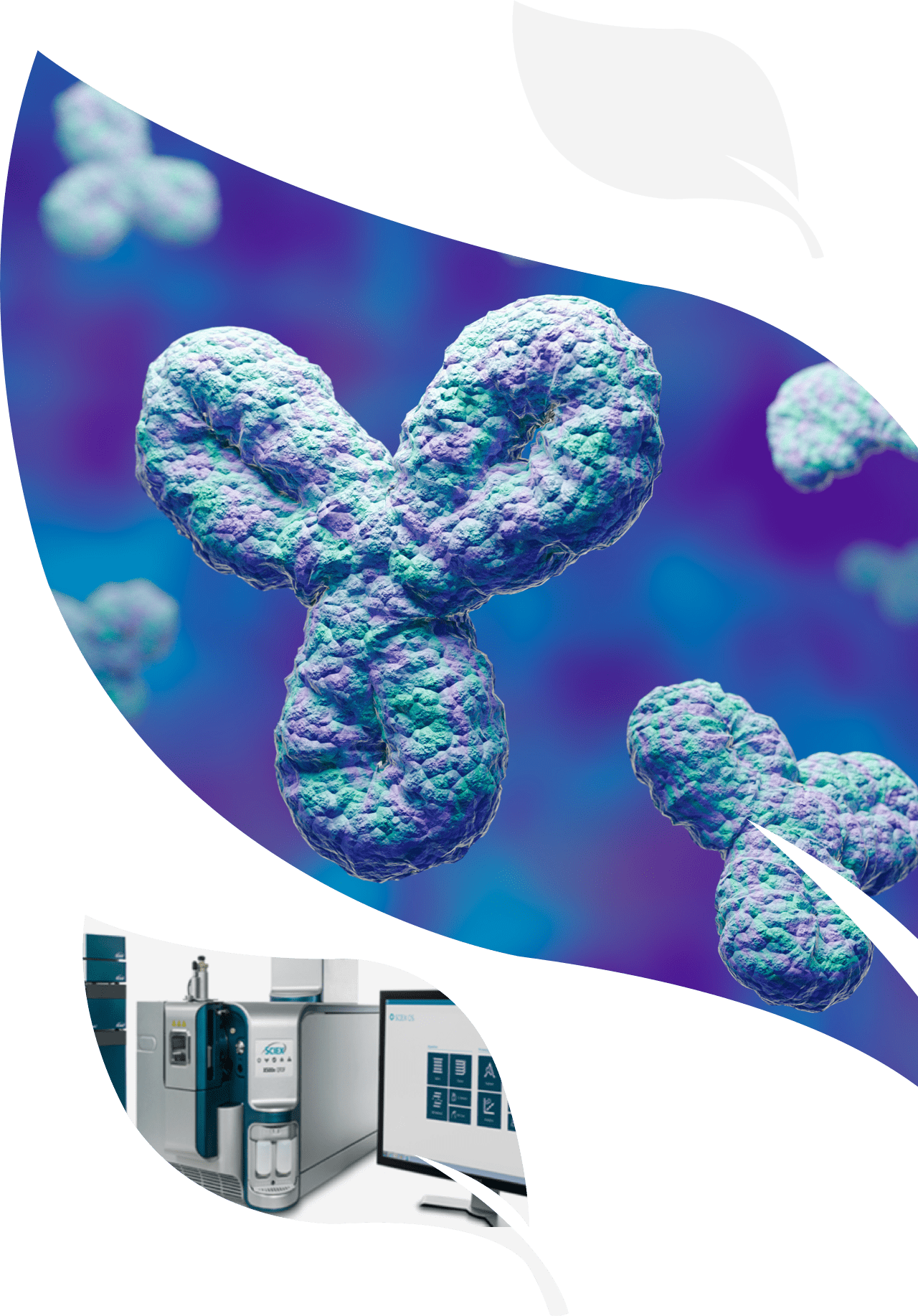 Computer generated image of a molecule and bioanalysis equipment for analysis and characterization services by iBio.